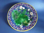 Superb Cobalt Victorian Majolica Fern and Flower Plate c1880